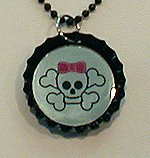 Lasered Mirror Bottle Cap Necklace SKULL w/ BOW