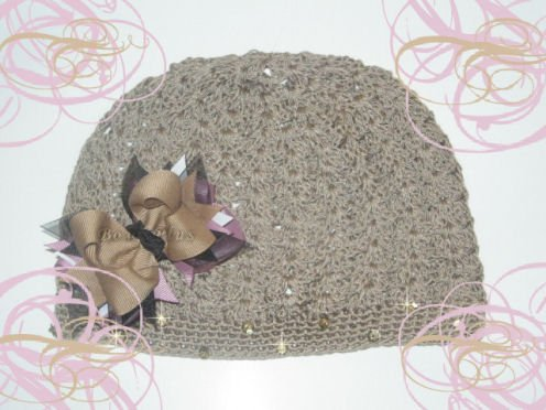 Mauve and Tan Boutique Hair Bow W/ Crochet Beanie Cap