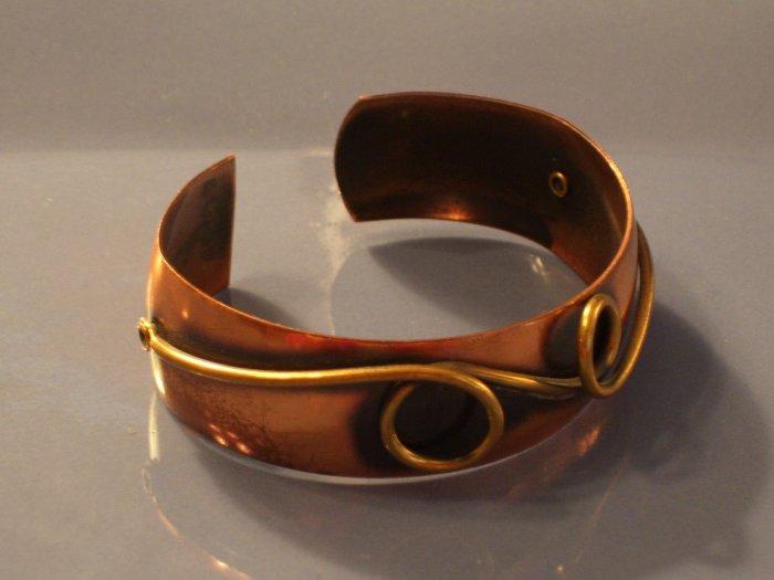 Vintage Copper & Brass Modernist Cuff Bracelet