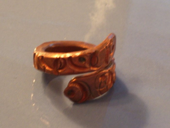 Vintage Heavy Copper Etched Wrap Ring  Size 6