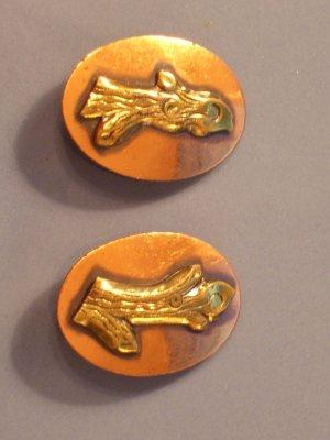 Vintage Copper & Brass Oval Clip Earrings
