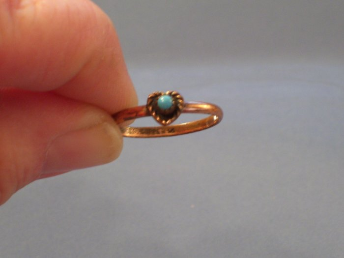 Vintage Copper & Faux Turquoise HEART Ring Size 7.5