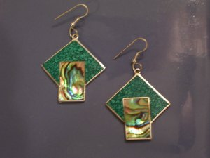 Vintage Mexican Turquoise Chip & Abalone Wire Earrings