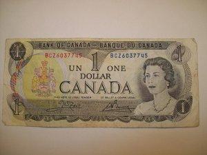 1973 Canadian Dollar Queen Elizabeth QE Circulated Banque Canada North America