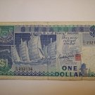Singapore One Dollar Note $1 Sha Chuan Sentosa Satellite Earth Station C15 Circulated 1984 to 1999