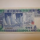 Singapore One Dollar Note $1 Sha Chuan Sentosa Satellite Earth Station A94 Circulated 1984 to 1999