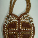 Brown Tan White Multi Color Leather Link Patchwork Style Carry All Bag Purse BOHO CHIC