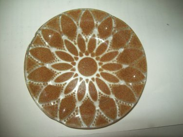 SYDENSTRICKER Gold Lace Flower Cased Fused Kiln Fired Art Glass Pin Dish Tray Plate