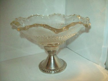 DUCHIN CREATION Sterling Silver Weighted Scallop Bead Edge Pressed Glass Pedestal Compote Bowl Dish