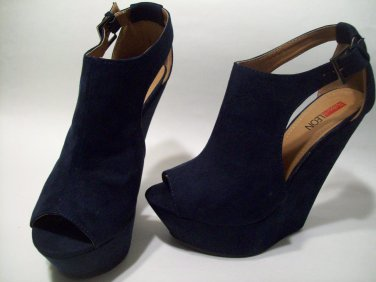 98e6c1e89 Dark Navy Blue Faux Suede Peep Toe Platform 6 inch Sexy Wedge Heels Shoes 7  ...