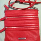 CALVIN KLEIN Dark Coral Fire Red Orange with Silver Hardware Pebble Leather Crossbody Purse Bag