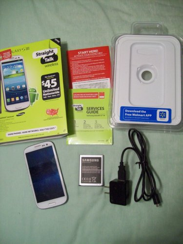 Samsung Galaxy SIII S3 White with USB/AC Wall Plug Charger Cord needs Re-Setting and/or REPAIR