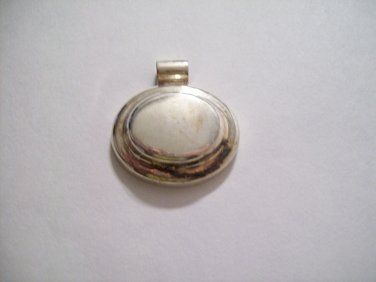 Sterling Silver Oval Thick Tiered Slide Charm Pendant Barrel Style Bale 925 Mexico Mexican