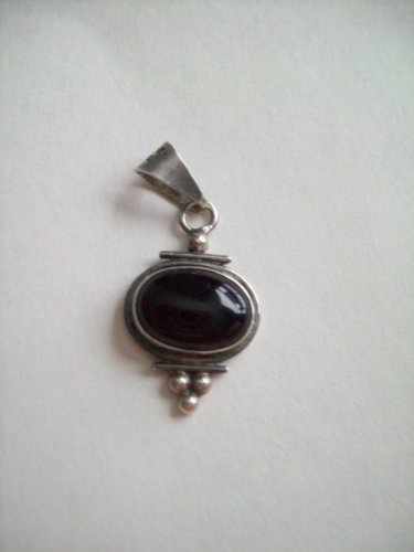 Sterling Silver Oval Bezel Set Agate Stone Bead Dot Slide Charm Pendant Bale 925 Mexico Mexican