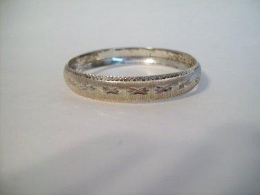 Sterling Silver Diamond Cut Etched Pressed Stamped 925 Vintage Ethnic Bangle Bracelet