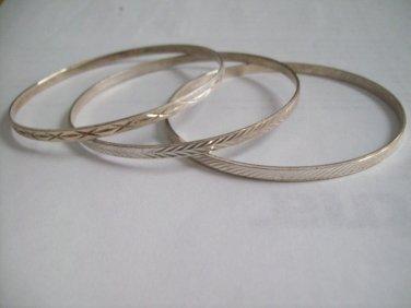 3 Diamond Cut Sterling Silver MILOR 925 Etched Italian Italy Vinatge Thin Bangle Bracelets