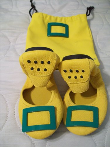 BEN & 1966 Yellow Leather Ballerina Elf Genie Flat Moccasin Rugged Sole Shoes 7 Dustbag