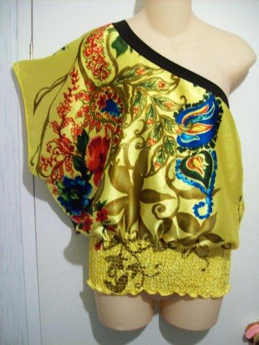 Off Shoulder 1 Arm Dolman Kimono Style Rose Flower Bloom SEXY BOHO CHIC Shirt Top Blouse S