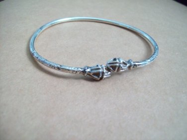 Sterling Silver Jamaican West Indies Style Cuff Wrap Bypass Bangle Bracelet Deep Cast Ends