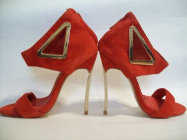 CASADEI Suede Gold Metal Triangle CutOut Ankle Wrap Stiletto Blade Heel Classy Italian Italy 34