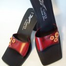 GACCI by Carlos Diaz Flower Deco Burnished Red Leather Mule Heel Sassy Classy Italian Italy 7