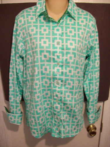 TIZZIE Long Sleeve Green White Geometric French Cuff Button Front Shirt Top M