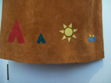 THE EAGLES EYE Vintage Native Cut Out Applied Sun TeePee Water Suede Leather Maxi Boot Skirt 10