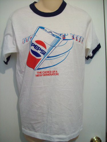 Vtg Style PEPSI The Choice...New Generation Blue White Red SS Ringer T Tee Shirt by Screen Stars S
