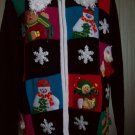 Holiday Cute Christmas Zip Up Curly White Collar Red Black Color Block Sweater M LISA Intl
