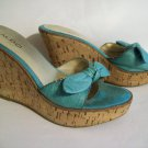 "Turquoise Suede Leather Bow Open Toe 4"" Wedge Heel Sandal Slide Pump Shoe ALDO 38B Italian Well WORN"