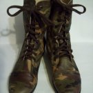 TROOPA LE CAMOUFLAGE Ankle Camo Distressed Look Combat Style Leather Boots Size 7 STEVE MADDEN