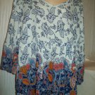 BOHO Paisley Brown Blue Navy Style Bell Sleeve Crinkle Curvy Vee Crossback Top Blouse TRUE CRAFT 2X