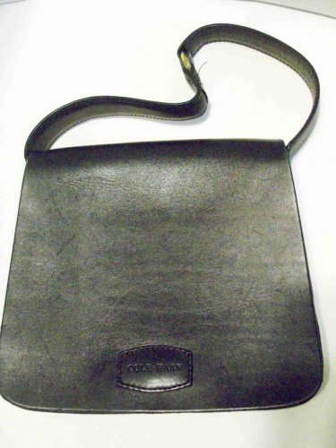 605b621a022e COLE HAAN Black Small Smooth Firm Leather Arm Flap Bag Purse Brass Decor  Ring Hardware Vintage