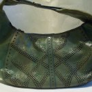 COLE HAAN Discolor Green Brass Stud Decor Ring Punch Leather Hobo Bag Purse Hardware Vintage