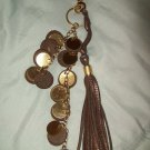 Gold Coin Metallic Brown Bronze Colored Pebble Leather Tassel Fringe Purse Satchel Bag Clip Charm
