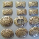 12 pc Vintage Oval Butterfly Tooled Brass Metal Native Scallop Edge Stampwork Concho Belt Buckle Set