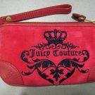 JUICY COUTURE Hot Pink Velour Leather Trim Wristlet Brushed Gold Hardware Detachable Strap Bag Purse
