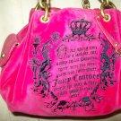 JUICY COUTURE Hot Pink Velour & Leather Trim Brushed Gold Hardware Strap Shoulder Satchel Purse Bag