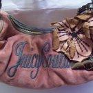 JUICY COUTURE Pink Velour Sage Leather Flower Strap & Trim Satchel Purse Bag