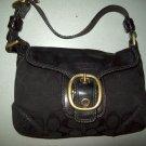 COACH Soho Black Jacquard Sig C Leather Gold Brass Flap Shoulder Purse Handbag Bag 11441