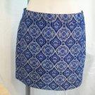 J CREW Dark Navy Blue Grey Brocade Polyester Acrylic Blend Tweed Ikat Style No Waist Mini Skirt 0