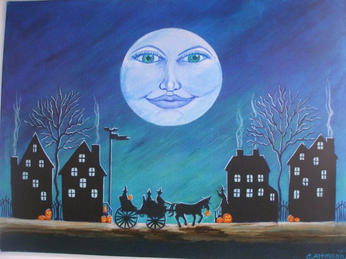 Art print Halloween Witch Moon