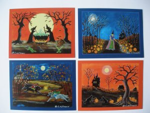 Halloween Art 4 Individual ACEO Size Art Prints