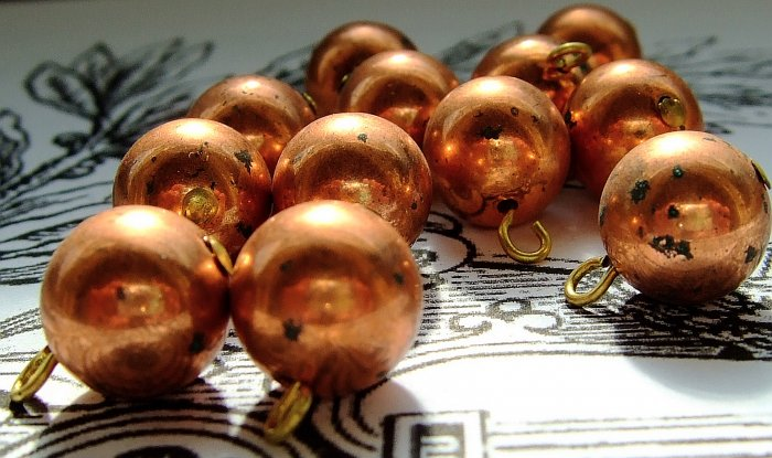 10 Vintage Japanese 10mm Copper Beads