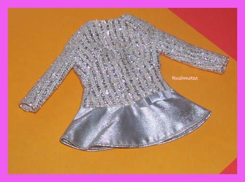 Vintage Barbie Doll Silver Sparkle #1885 Tagged Dress