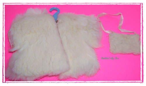 Vintage Vogue Ginny Doll Real Fur White Jacket & Purse