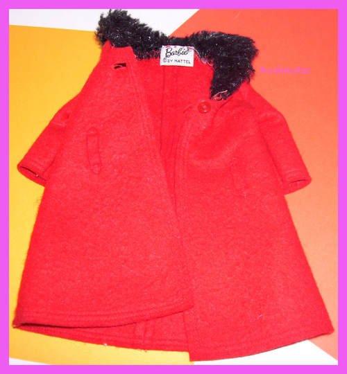 Vintage Barbie Red Felt Coat Its Cold Outside #0819 EXC