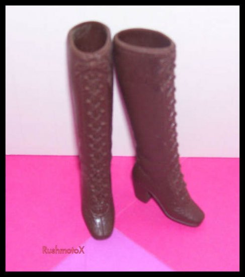 Vintage Barbie Doll Brown Squishy Plastic heeled boots
