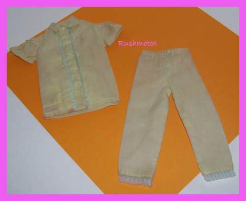 Vintage Barbie Doll Tagged Yellow Pajamas Top pants Set