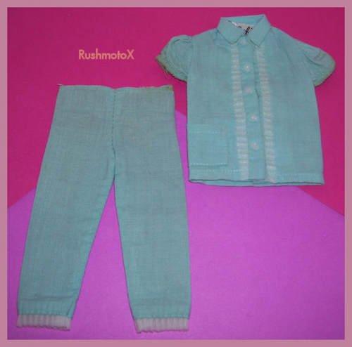 HTF Barbie Doll Turquoise Pajama Party #1601 Pajama Set